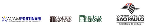 Assinatura do e-mail marketing contendo os logos da ACAM Portinari, Museu Felícia Leirner e Governo do Estado de São Paulo